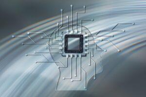 микропроцессор в стилизованной голове